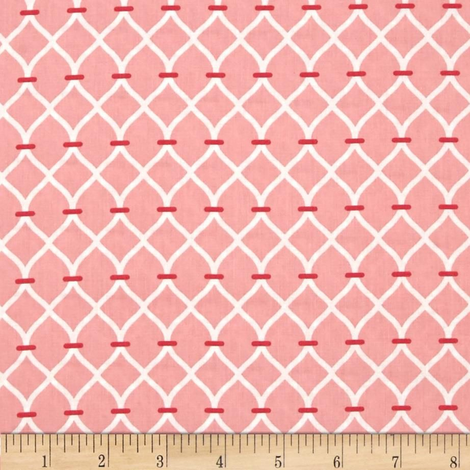 For Camelot Cottons, this cotton print fabric is perfect for quilting, apparel and home decor accents. Colors include white and rose pink.