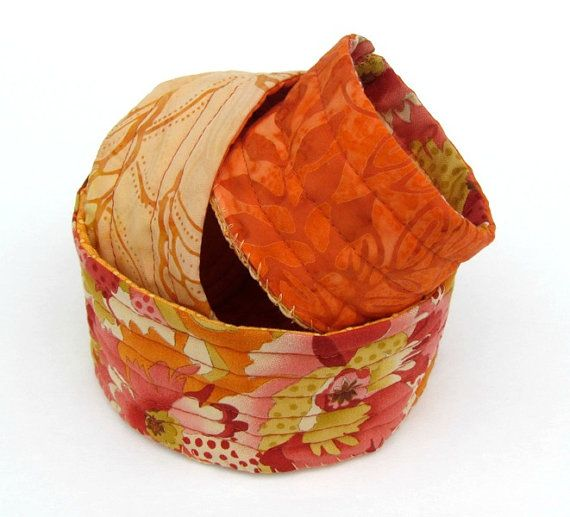 Quilted Fabric Orange Bowls Nesting Set by LauraGlassArtQuilts, $42.00