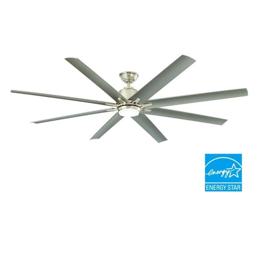 Home Decorators Collection Kensgrove 72 In Led Indoor Outdoor Brushed Nickel Ceiling Fan With Light Kit And Remote Control Yg493od Bn The Home Depot Brushed Nickel Ceiling Fan Ceiling Fan Ceiling Fan With