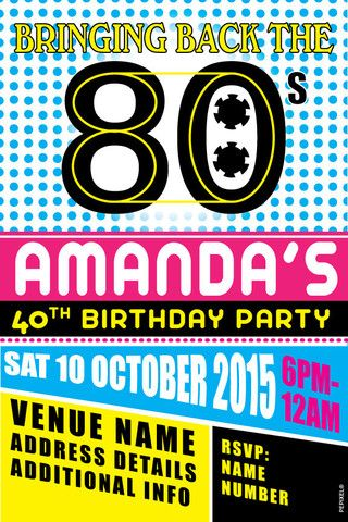 21st Birthday Invitations 30th 40th 50th 80 Theme 80s Parties Party Retro