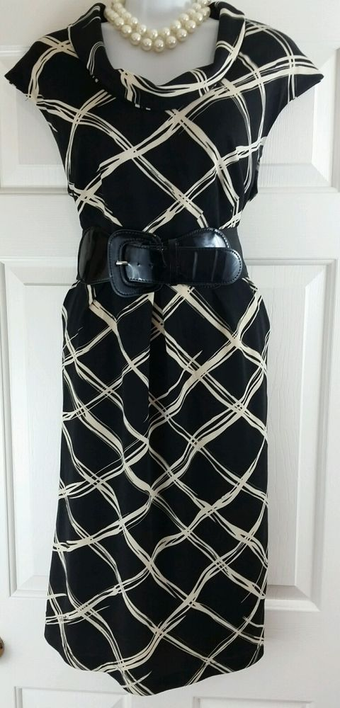 Signature by Robbie Bee Black Tan Bold Print Career Belted Cowl Pencil Dress 14P in Clothing, Shoes & Accessories, Women's Clothing, Dresses   eBay
