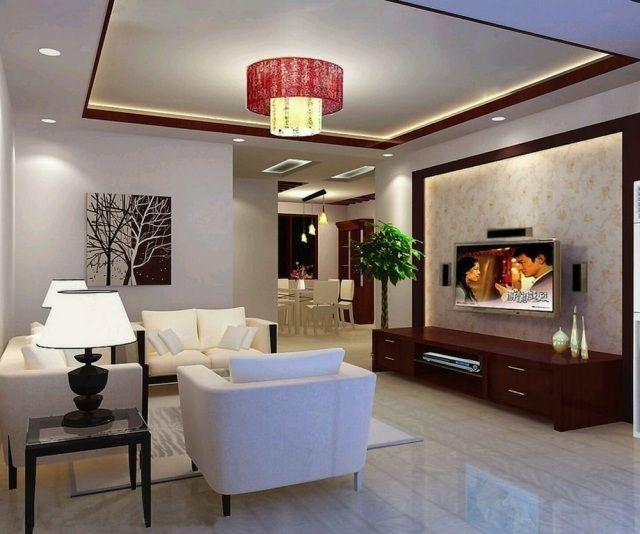 Faux plafond moderne dans la chambre coucher et le salon for Decoration faux plafond simple