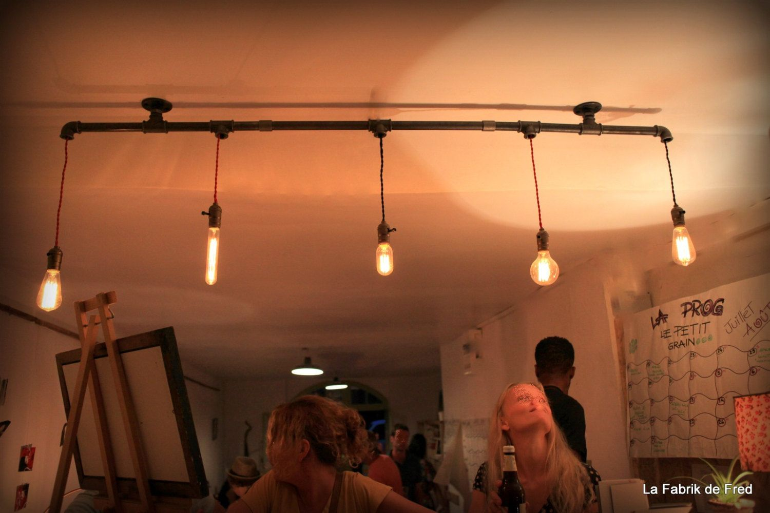 Image result for suspended pendant lights from pipe wilbur street