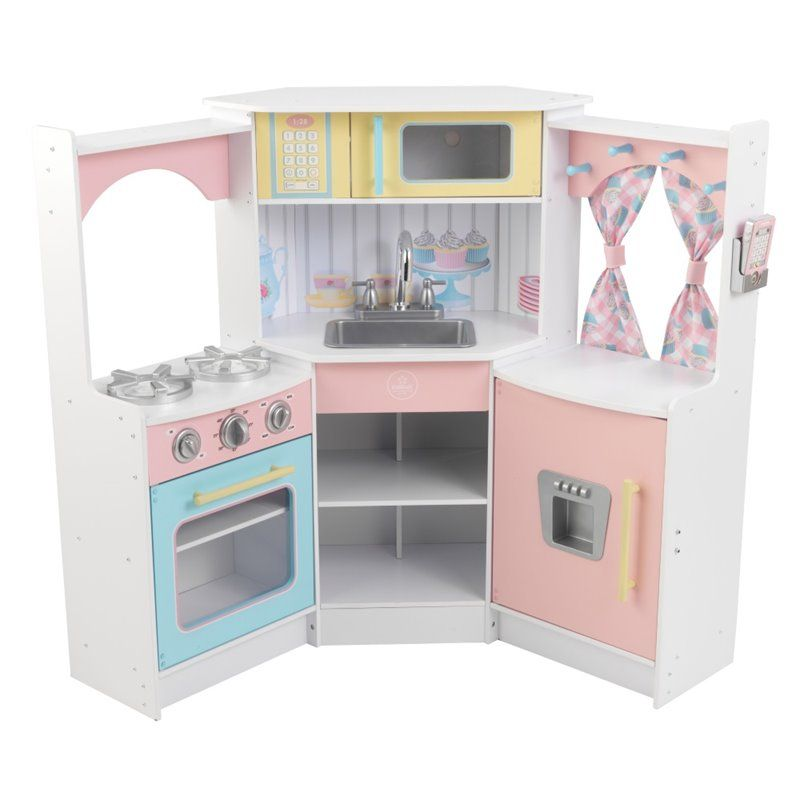 excellent kidkraft deluxe corner play kitchen with cuisine vintage rose kidkraft. Black Bedroom Furniture Sets. Home Design Ideas