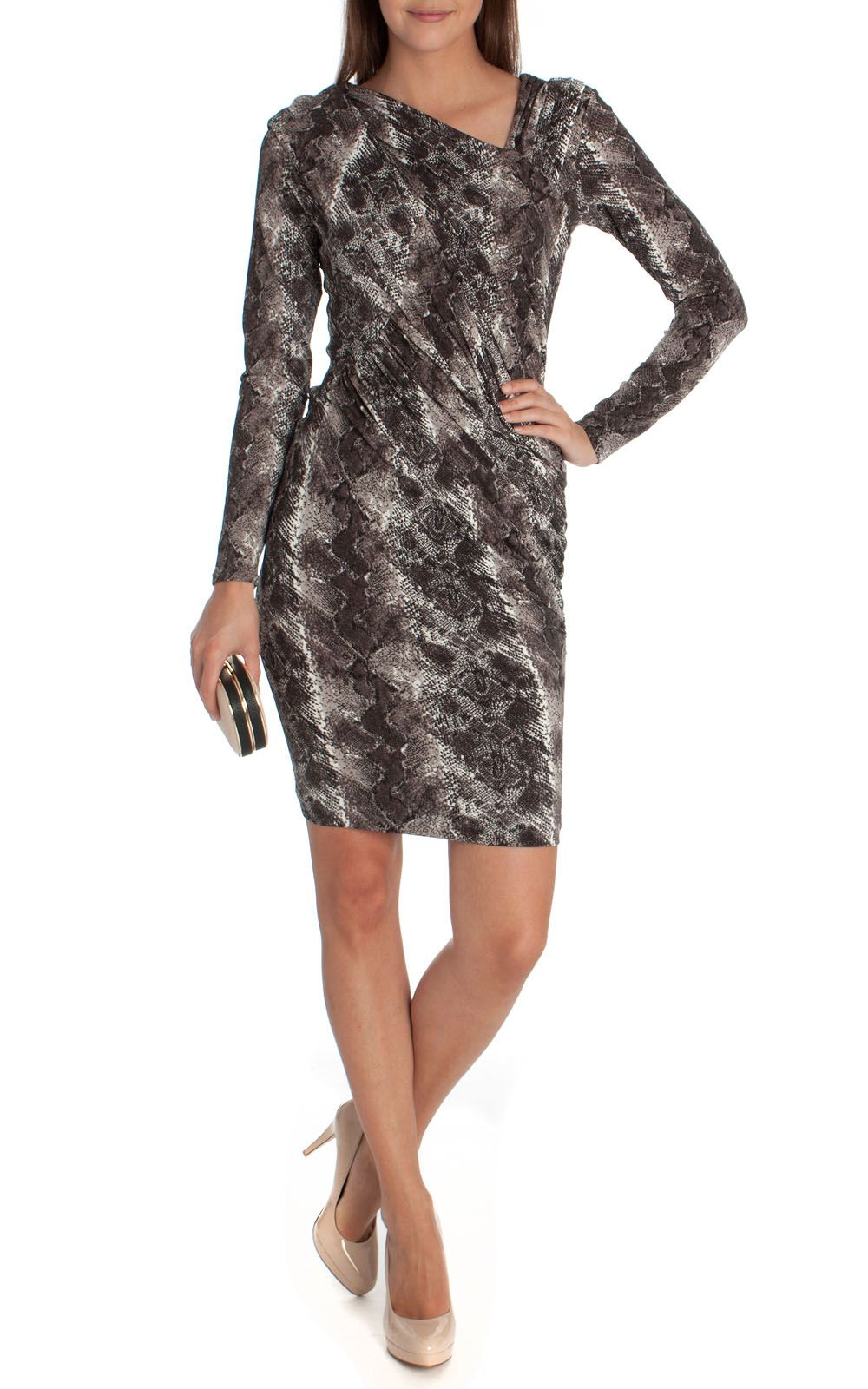 Black and white animal print long sleeve jersey dress the jersey