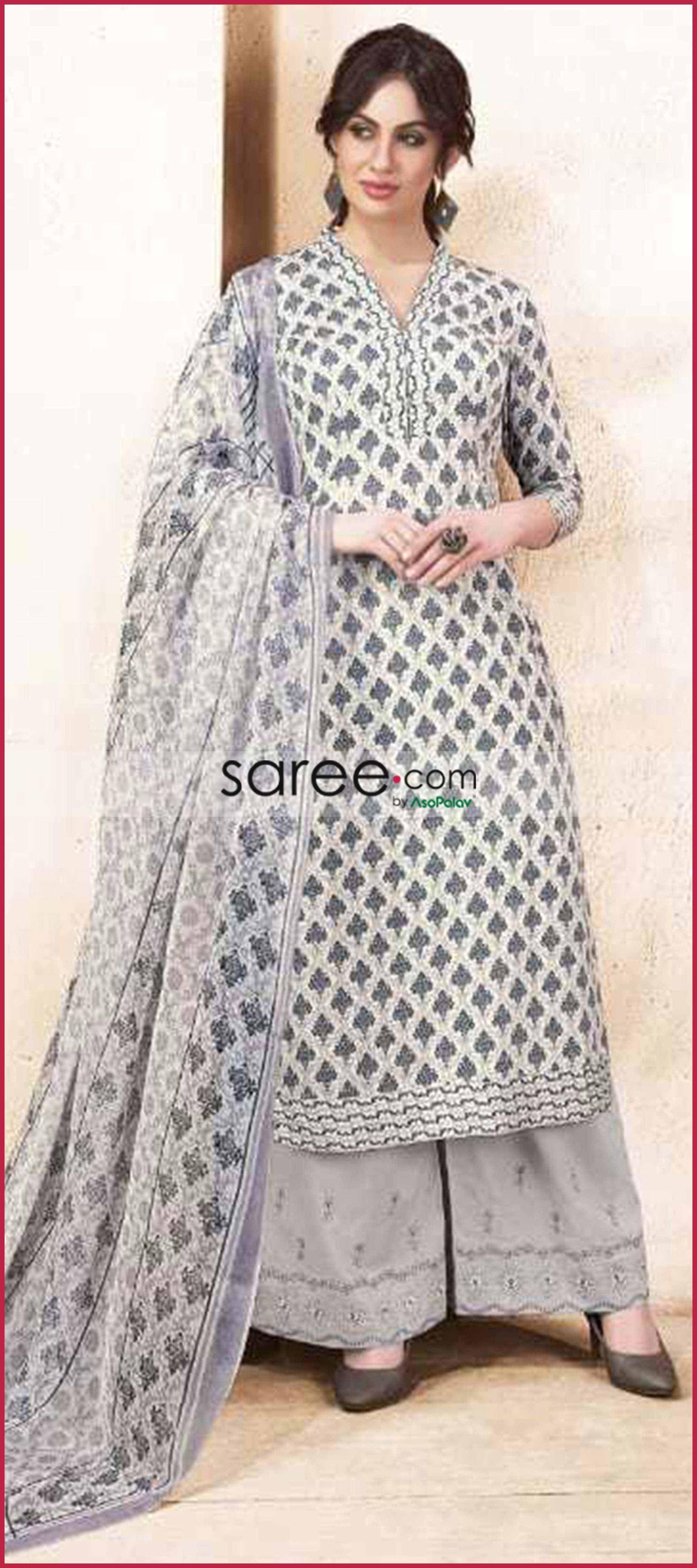 176bdd30eb Grey Cotton Silk Printed Palazzo Suit in 2019 | Gharara & Sharara ...