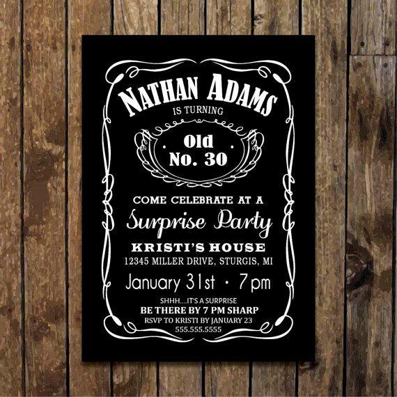 5 X 7 Printable Men S Surprise Birthday Party Invitation Whiskey Birthday Party S Surprise 30th Birthday 30th Birthday Party Invitations 30th Birthday Parties