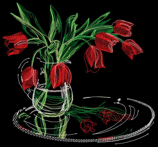 Vase With Tulips Free Embroidery Design Flowers Free Machine