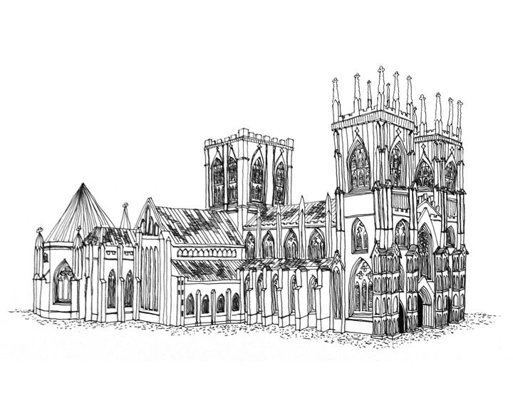 Architecture Drawing Class hand-drawn perspective of york minster cathedral in york, england
