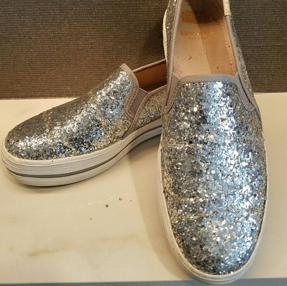 3dbd8e8bb021 Shop Women s kate spade Silver size Size 8 Sneakers at a discounted price  at Poshmark. Description  Kate Spade Silver Glitter KEDS