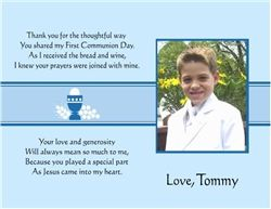 First Communion Thank You Card Custom Photo Color Can Be Changed