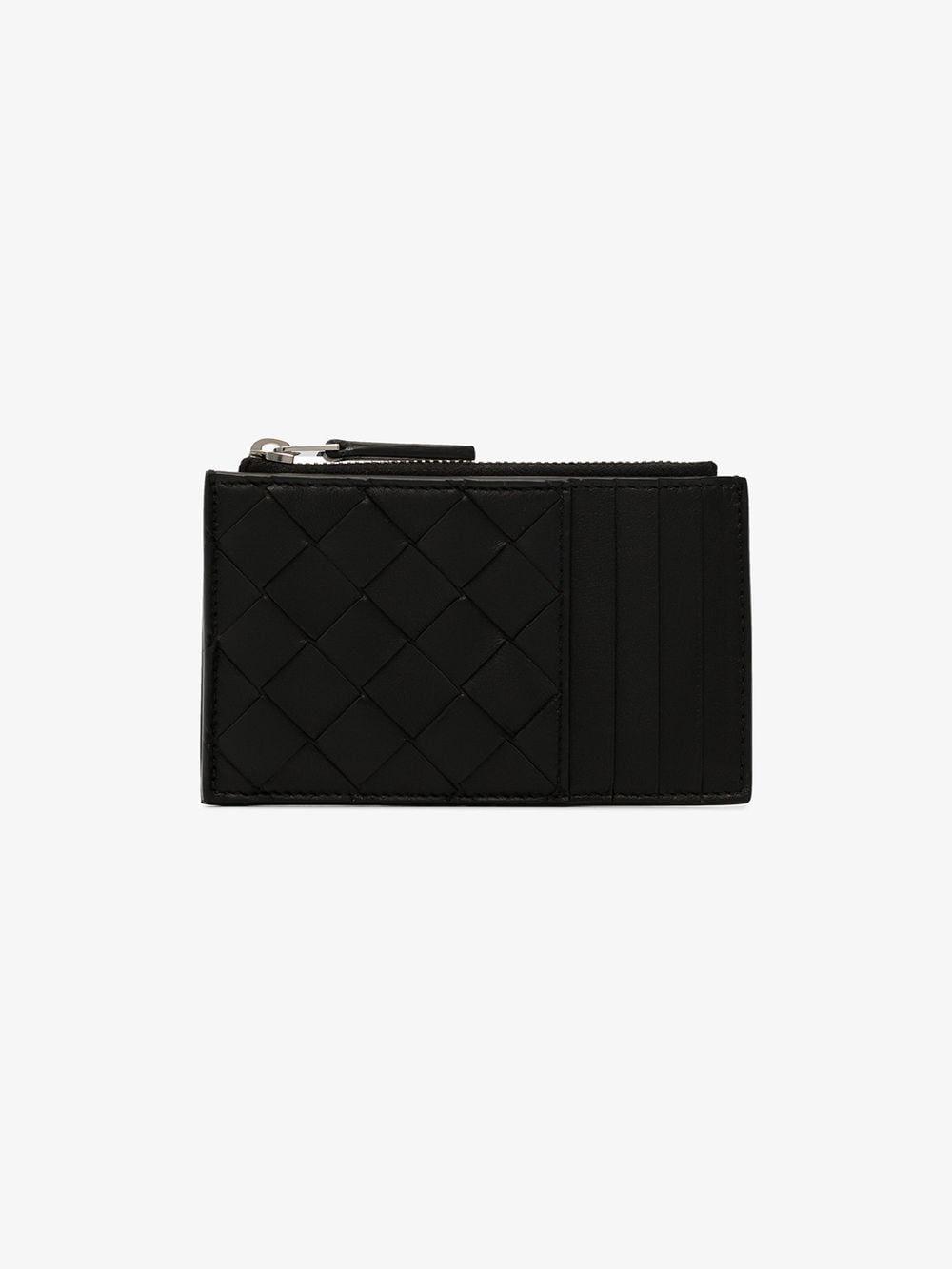 Bottega black woven leather card holder in 2020