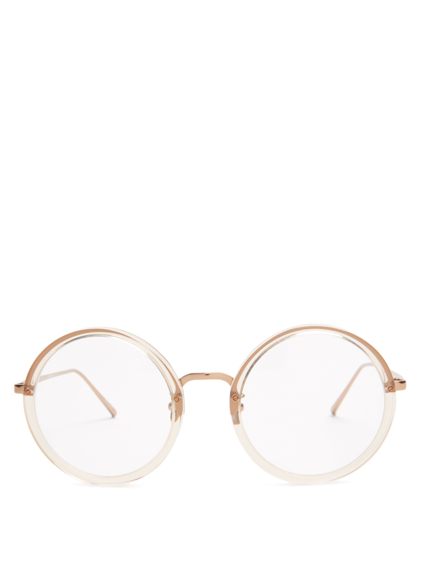 Linda Farrow Rose-gold plated round-frame glasses | Sunglasses ...