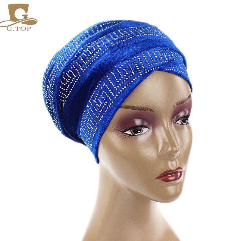 8aeb67fcd3d 2017 New fashion women diamante Velvet Turban Long Head Wraps women luxury  Hijab HeadScarf head scarf turbante