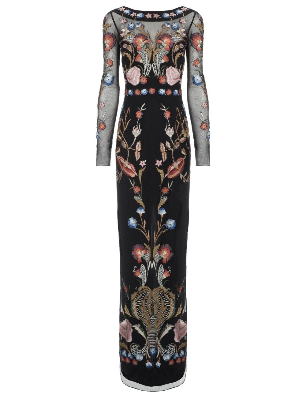 Temperley London Black Mix Long Toledo Gown in Black