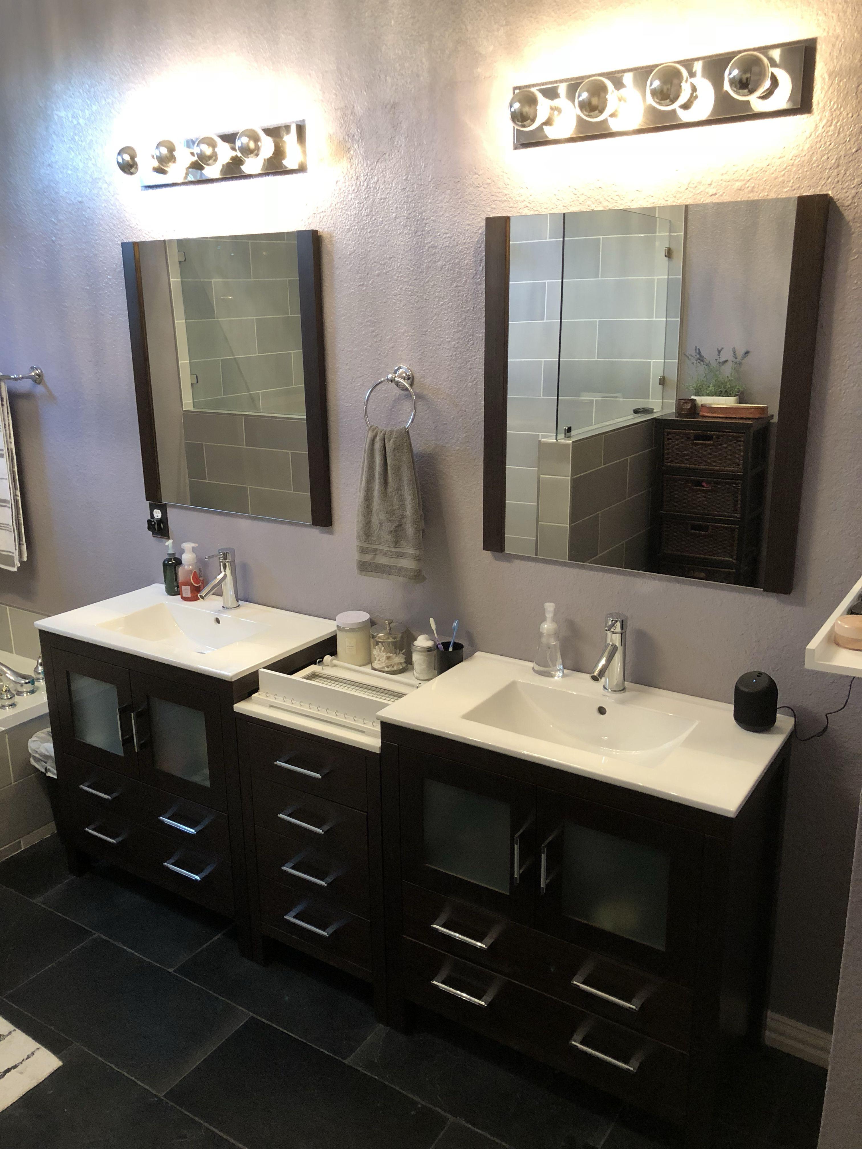 Prebuilt Espresso Color Cabinets Installed In Master Bathroom