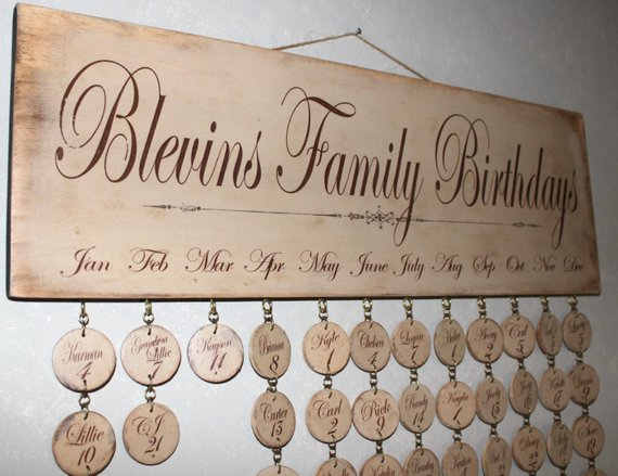 Faith Family Friends Birthday Board Special Day Reminder Wood Calendar Sign