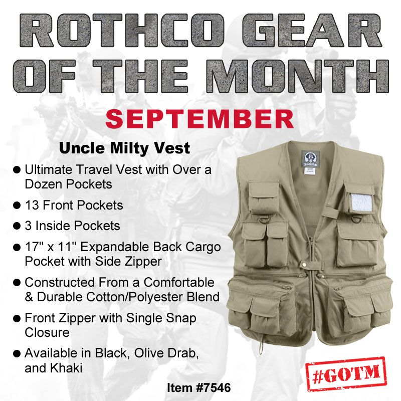 fa53d0b03 Rothco's #GOTM for September is the Uncle Milty Vest, complete with well  over a dozen pockets, making it the perfect travel vest!