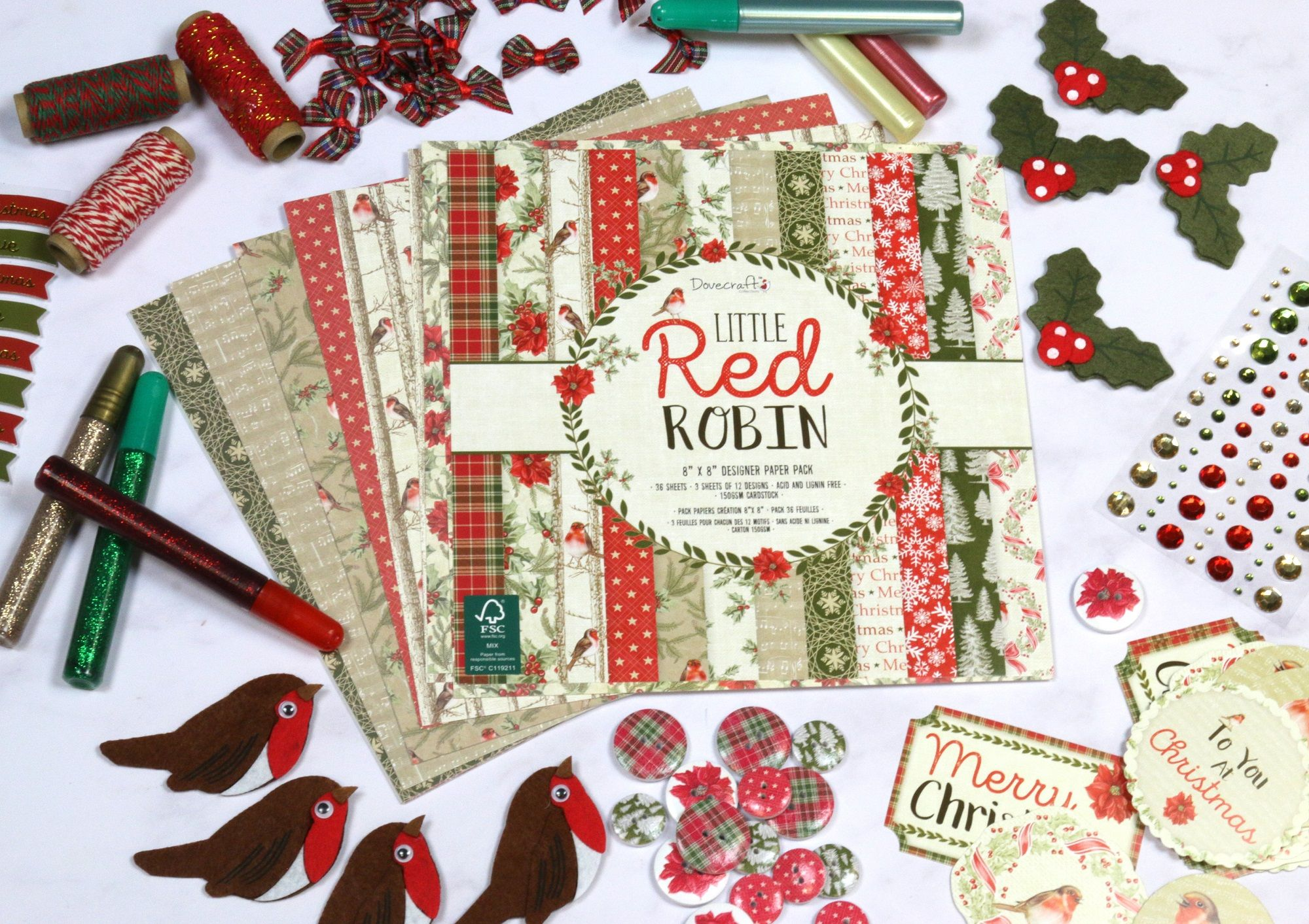 DOVECRAFT LITTLE RED ROBIN SAMPLE PACKS 12 X  8 x 8 PAPERS