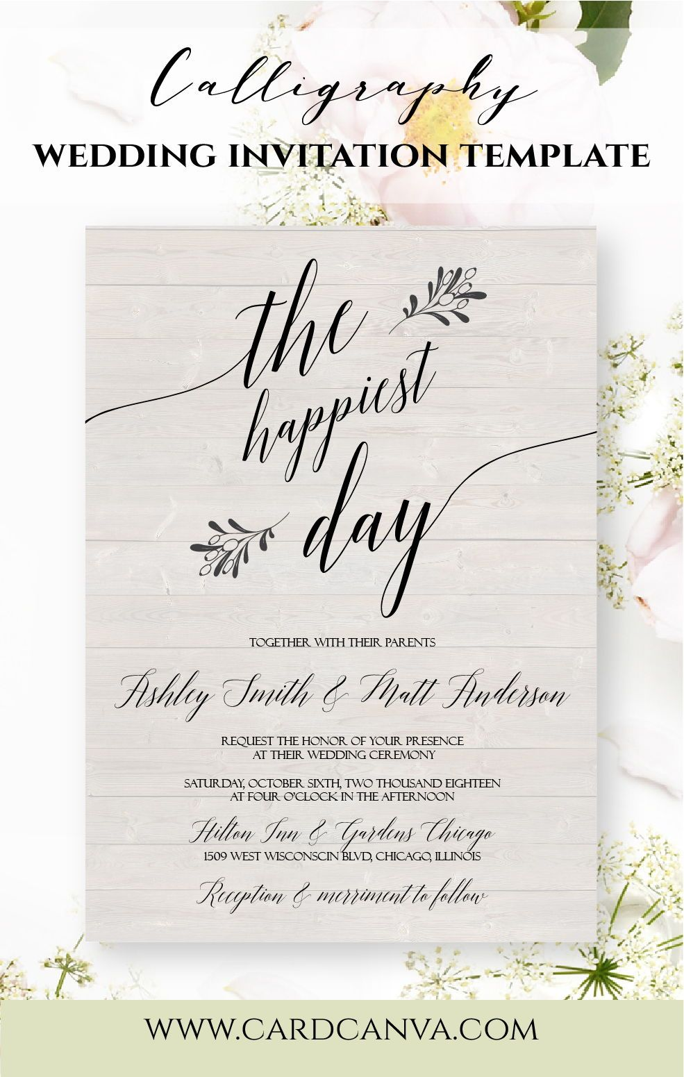Modern Calligraphy Wedding Invitations, Minimalist Wedding ...