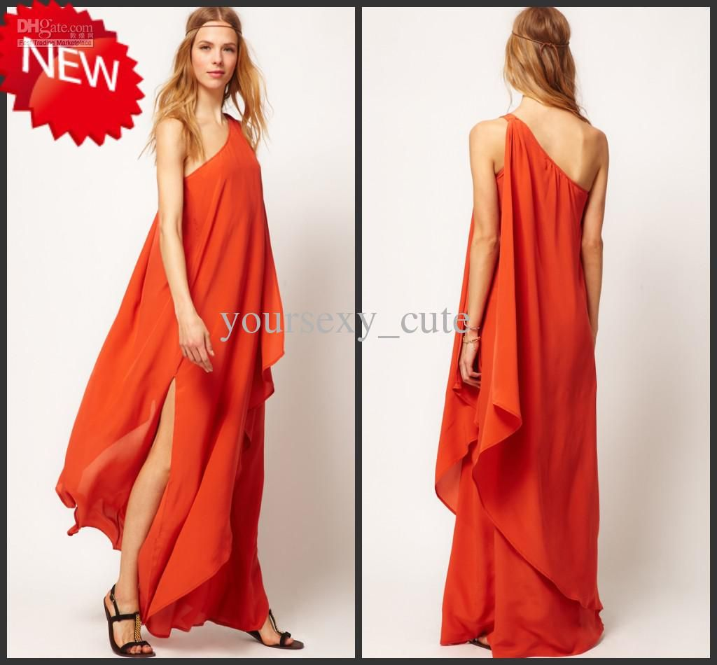 Wholesale Maxi Dresses - Buy Orange Red Maxi Dresses Chiffon One ...
