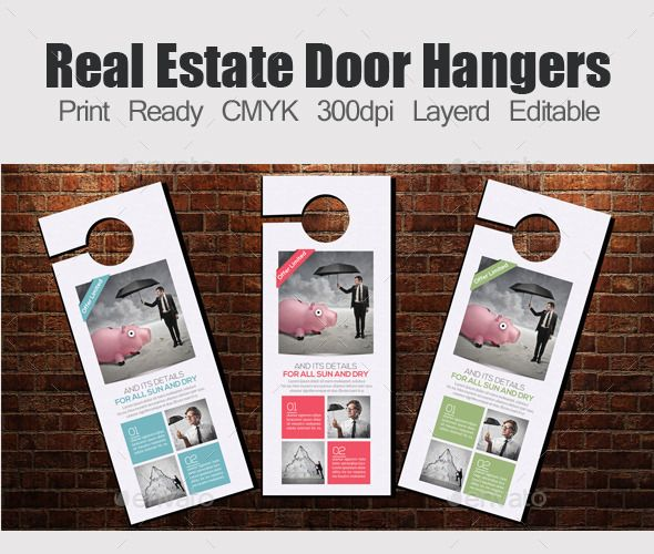 Smart, Clear and Clean Creative business Door hangers template can