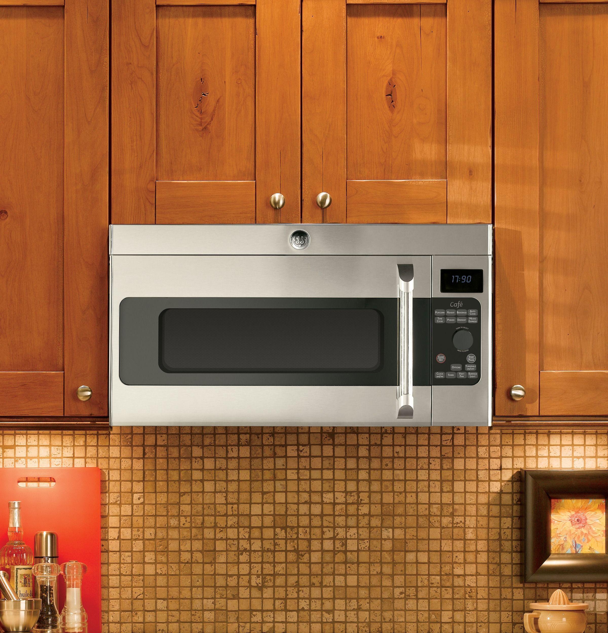 Cvm1750shss Ge Cafe Series 1 7 Cu Ft Over The Range Microwave Oven Ge Appliances Kitchen Built Ins Over The Range Microwaves Cabin Kitchens