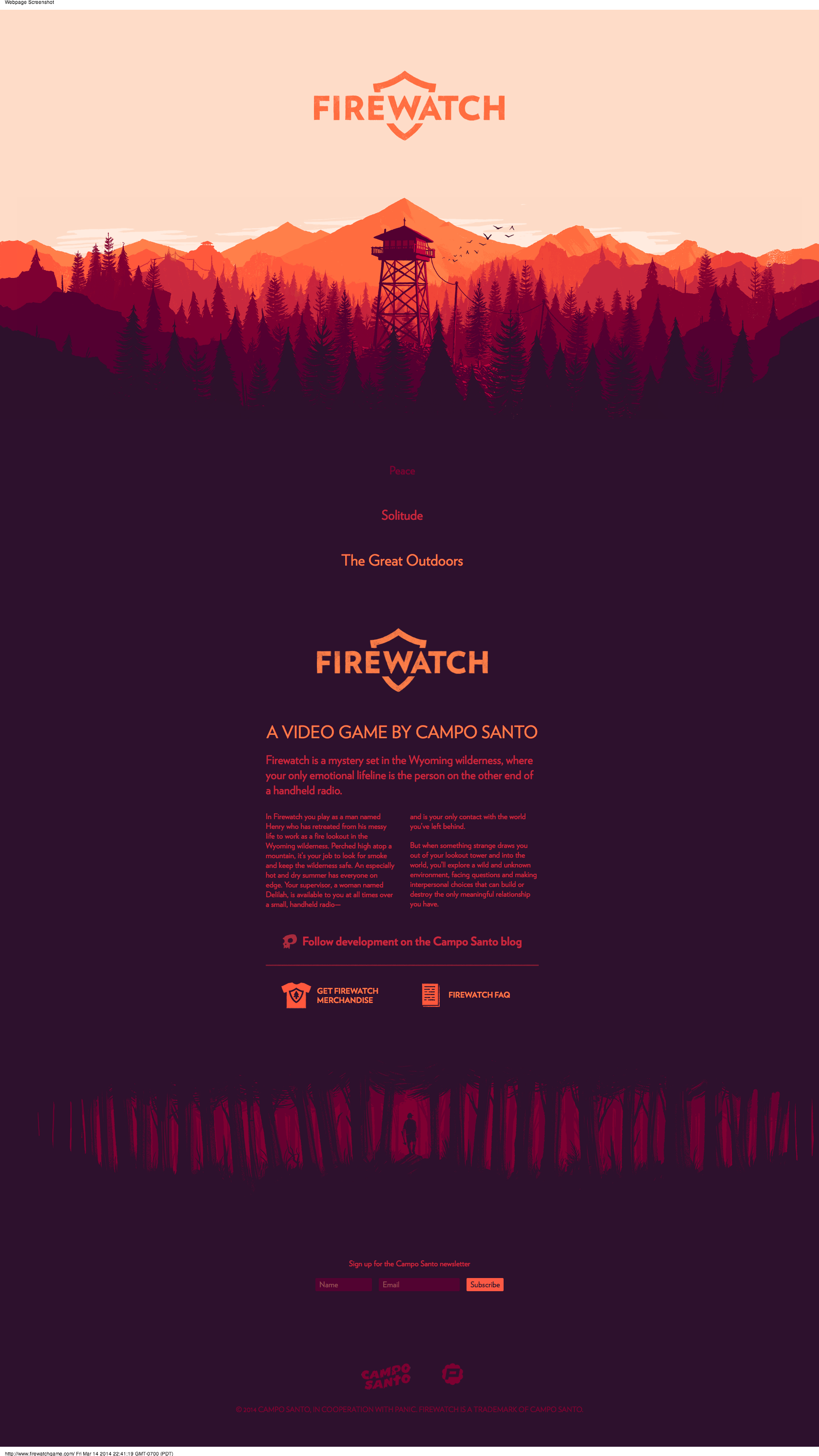 A Video Game By Campo Santo Firewatch Is A Mystery Set In The Wyoming Wilderness Where Your Only Emotion Web Design Inspiration Portfolio Web Design Firewatch
