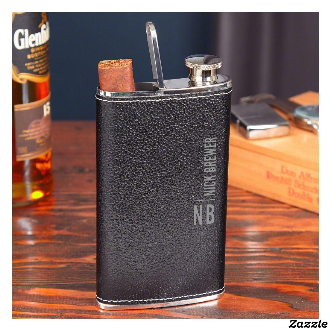 Black Calvin Cigar Holder Leather Hip Flask Zazzle Com Leather Flask Flask Hip Flask