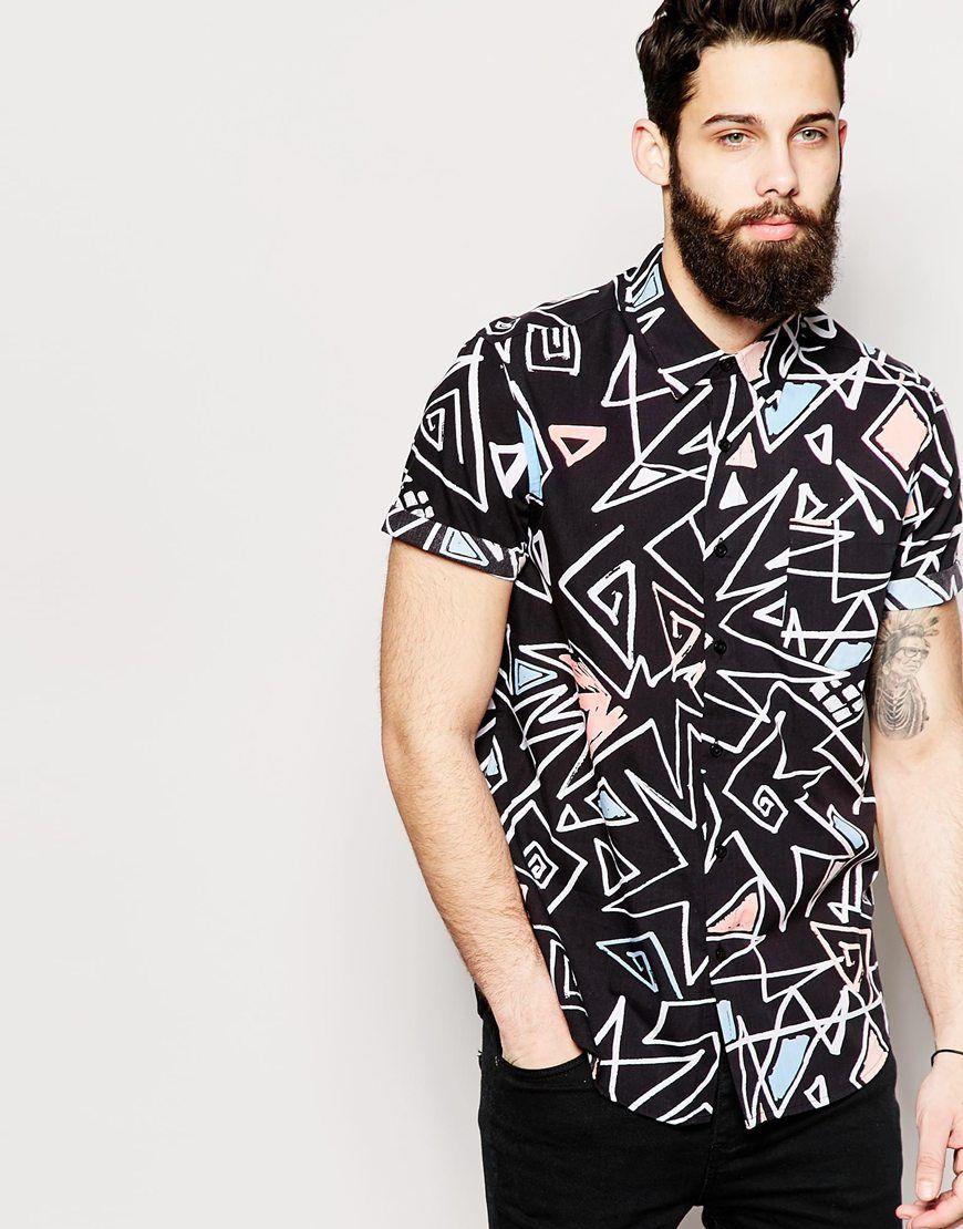 lista nueva nueva productos colores y llamativos Camisa de manga corta con estampado de graffiti de | Camisas ...