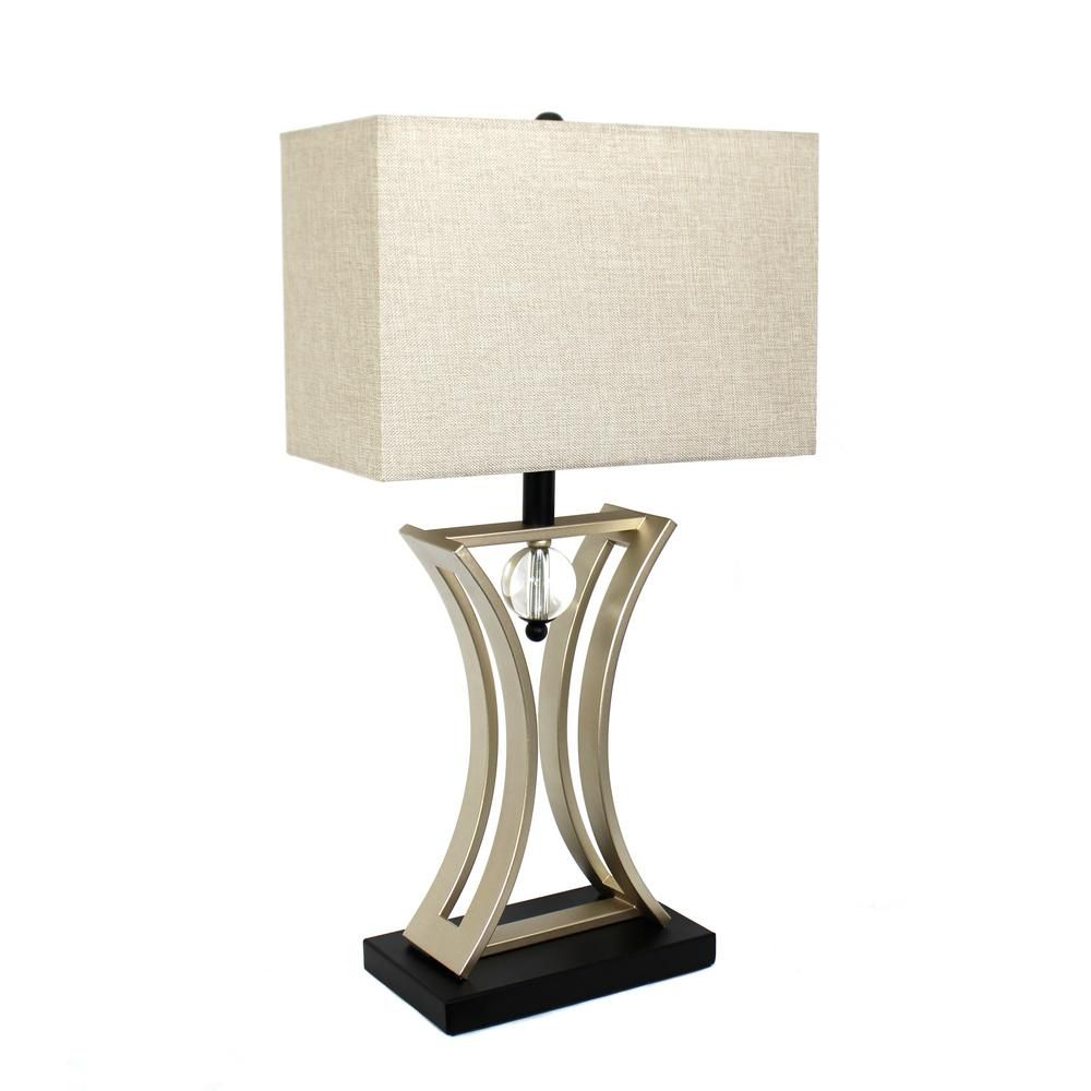 Elegant designs regency 2825 in brushed chrome and black brushed chrome and black conference room hourglass shape pendulum table lamp at the home depot mobile geotapseo Gallery