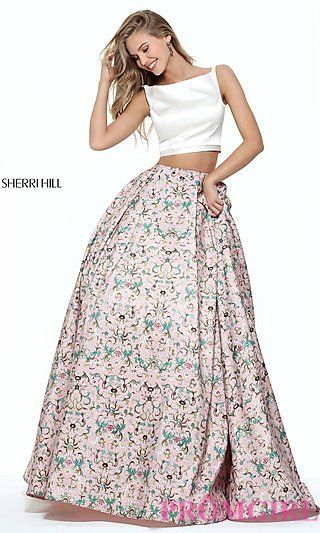 Two-Piece Ivory and Pink Print Dress. Sherri Hill Prom ...
