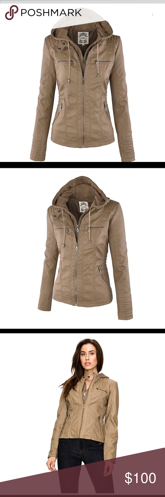 0690 Women's Hooded Faux Leather Jacket Hooded faux