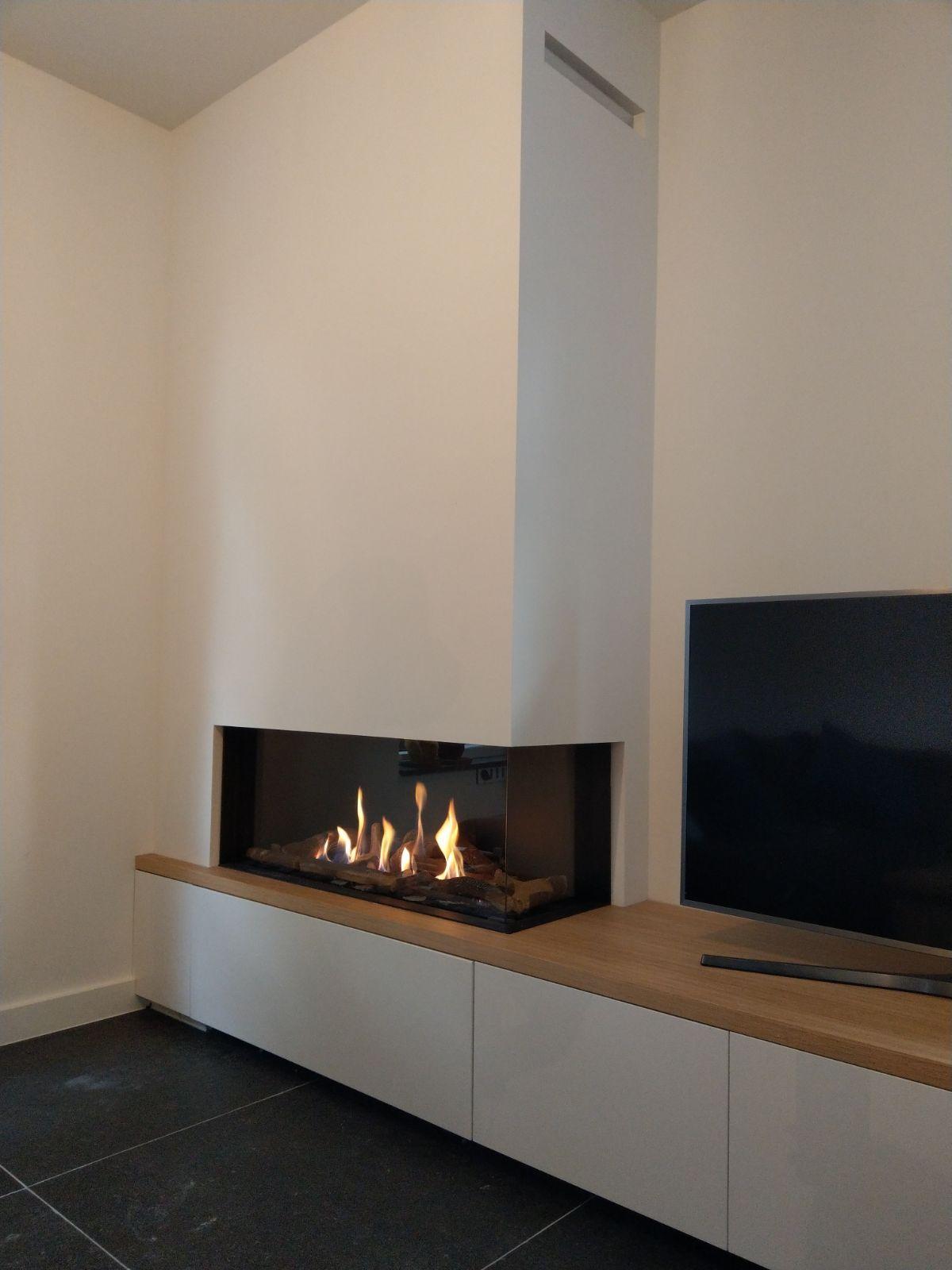 Verbazingwekkend Gashaard met tv meubel hout blad   Woonkamer boekenkast, Woonkamer KV-55