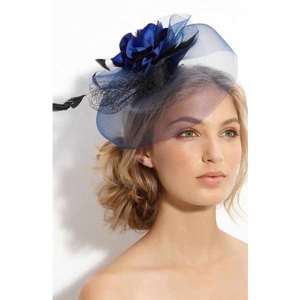 Gorgeous Blue Cara Accessories Royal Fascinator Hair Clip Found On Polyvore Fascinator Hairstyles Guest Hair Hair Clips