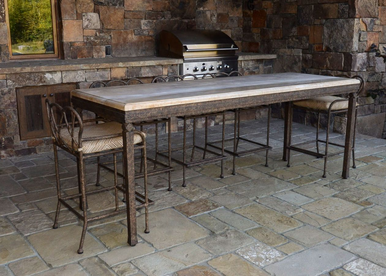 Cyprus Counter Height Table Ccs 110 W Stools 155 Iron Outdoor