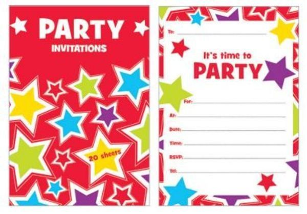 Starry Party Star Invitation Pad Invites - 20 Sheets