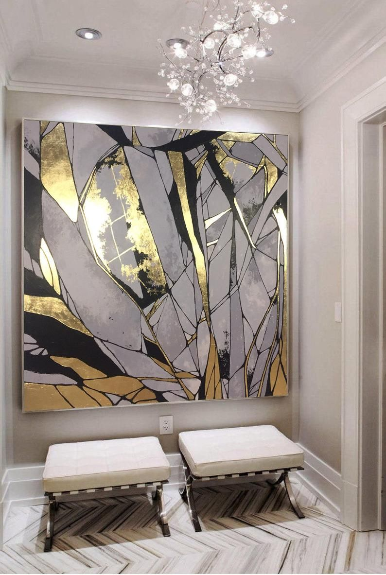 Original Gold Leaf Painting Large Abstract Painting Gray Painting Textured Art Abstract Acrylic Painting On Canvas Living Room Wall Art In 2021 Large Abstract Painting Abstract Painting Acrylic Gold Abstract Painting