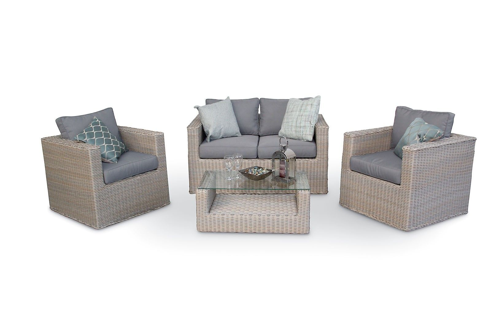 42b930eab82d5 Bahia 4PC Rattan Garden Sofa Set - Champagne Grey. This maintenance free  lounge set is ideal for those looking for a compact, yet luxurious natural  look. ...