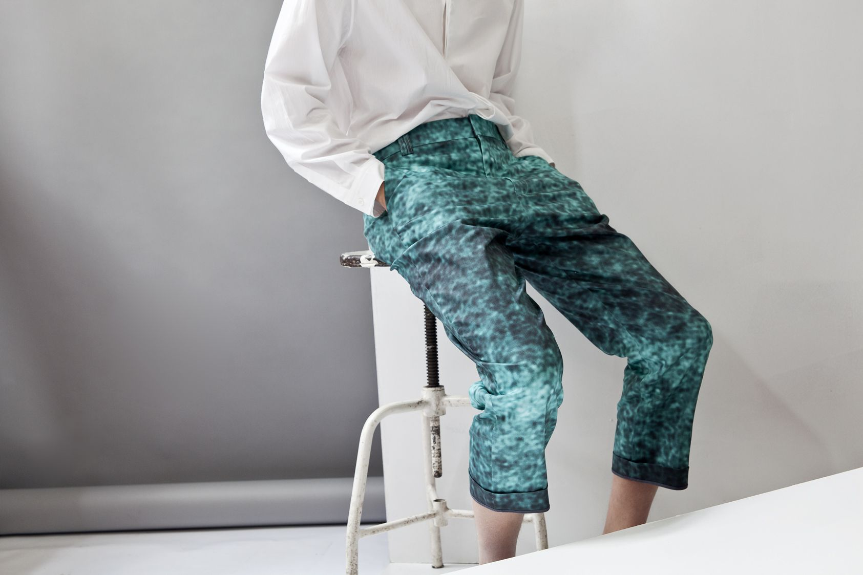 Aquamarine Printed Trousers by No.221 by C S'TUDIO