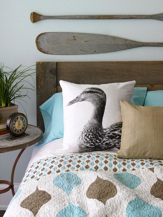 Eco-Cozy Pillows. Custom-made nature-theme pillows lend your bed a designer look, minus the spendy price tag.