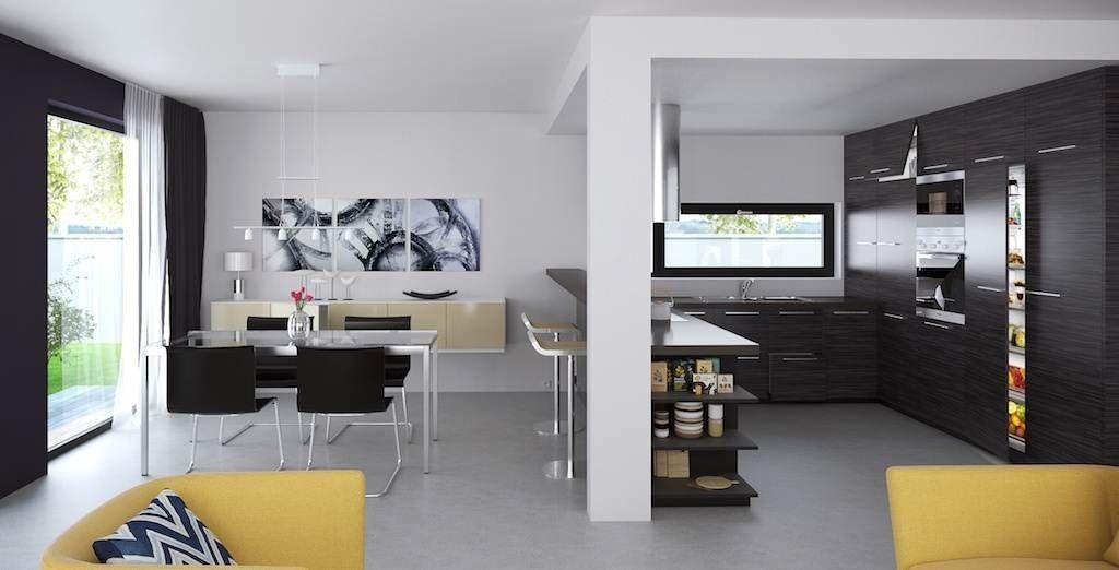 Vista interior cocina comedor y sala de estar chalilli - Casas prefabricadas granada ...