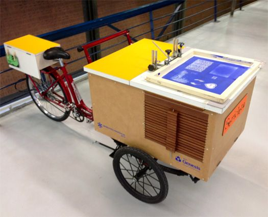 my friend's Monica Schoenacker's Sericleta — a bicycle outfitted with a silkscreen press