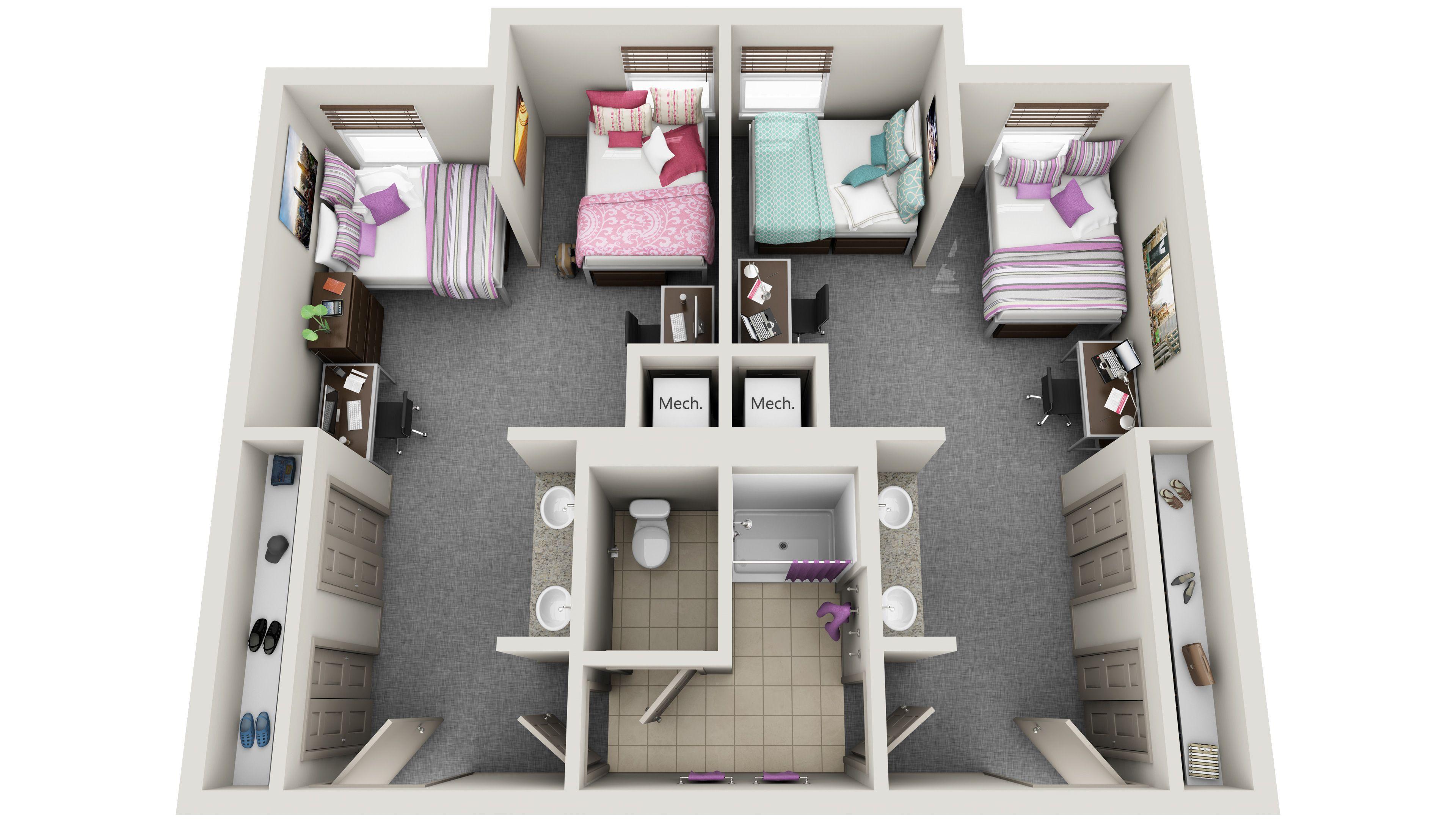 Standard 3d Floor Plans Dorm Room Layouts Dorm Layout Dorm Design