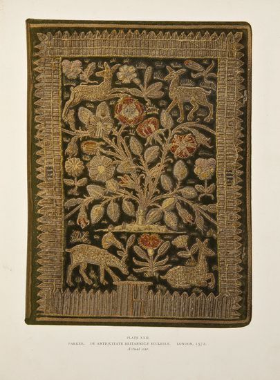 Fletcher (William Younger) English Bookbindings in the British Museum, number 15 of 500 copies, 66 chromolithographed plates, paper guards, some spotting, mostly marginal, heavier to endpapers, original cloth, spine faded, corners a little frayed, folio, 1895.