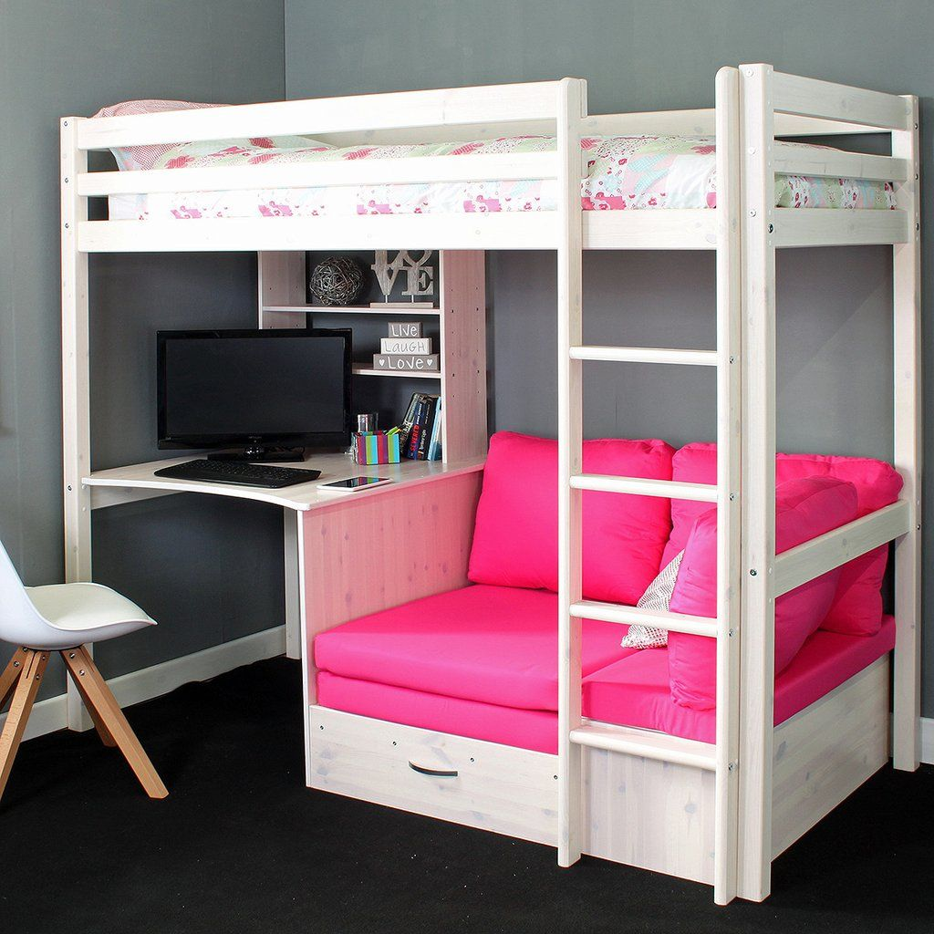 Thuka Hit High Sleeper Bed With Sofa Bed Desk In 2020 Bunk Bed