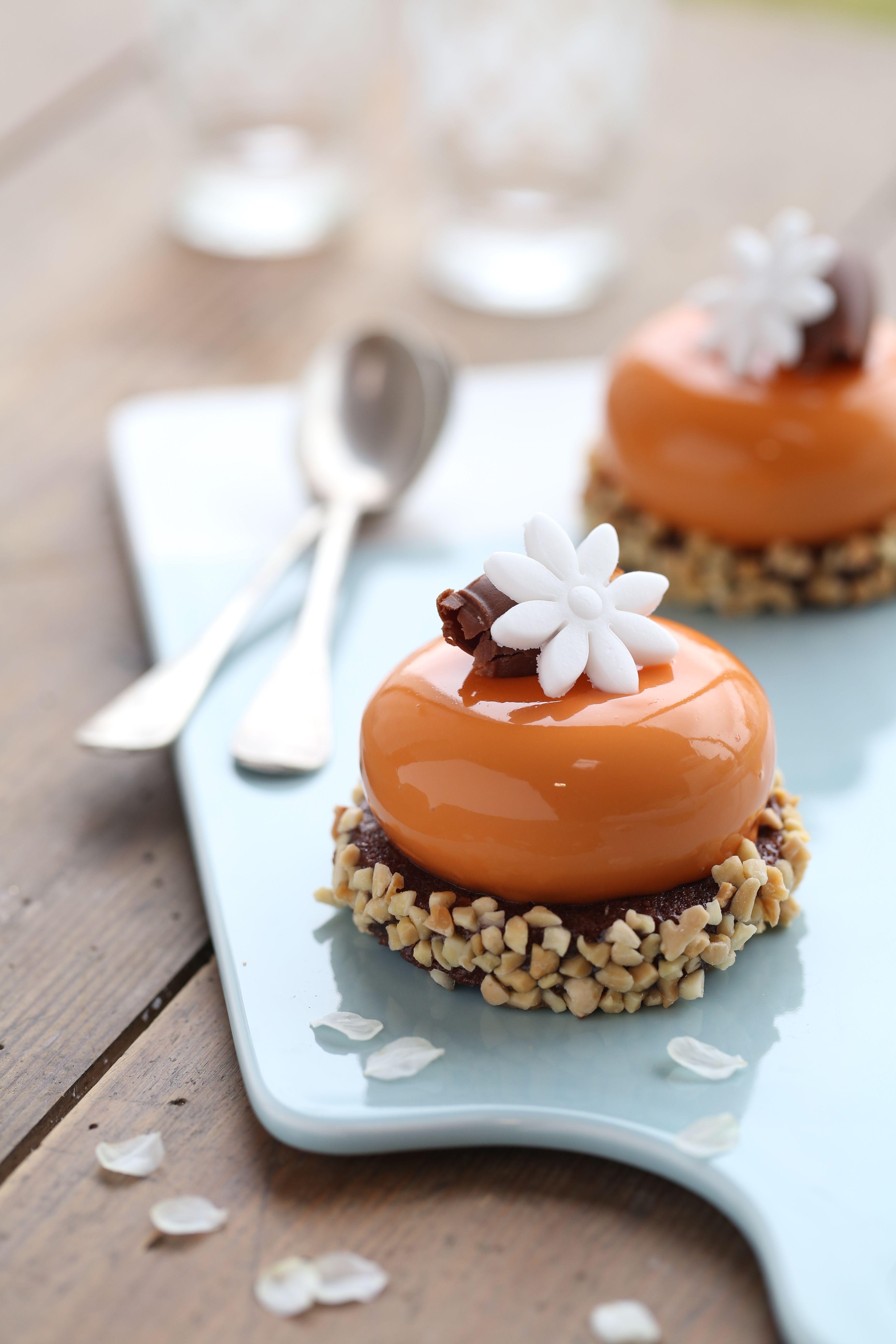 Roussillon : biscuit madeleine chocolat, crémeux d'amande, coulis abricot, mousse gianduja et glaçage abricot #biscuitmadeleine Roussillon : biscuit madeleine chocolat, crémeux d'amande, coulis abricot, mousse gianduja et glaçage abricot #biscuitmadeleine