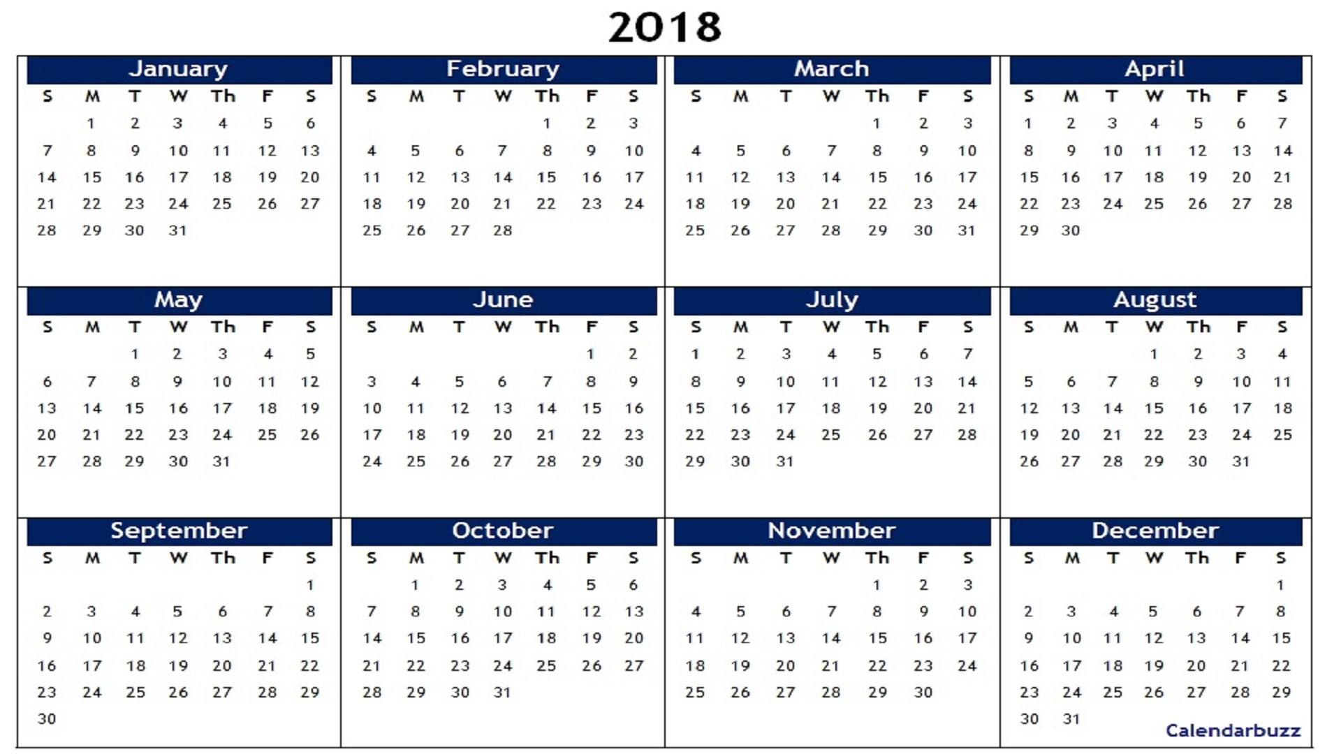 2018 yearly calendar printable
