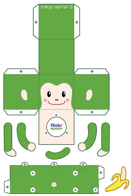 Green Monkey Paper Toys Monkey Template Pop Up Book