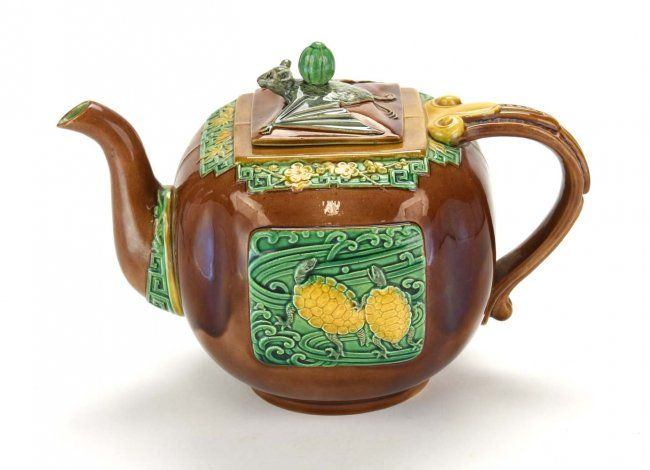 Only Known Example of The Minton Majolica 'Bat and Turtles' Teapot and Cover c.1875. Probably designed by Dr. Christopher Dresser.